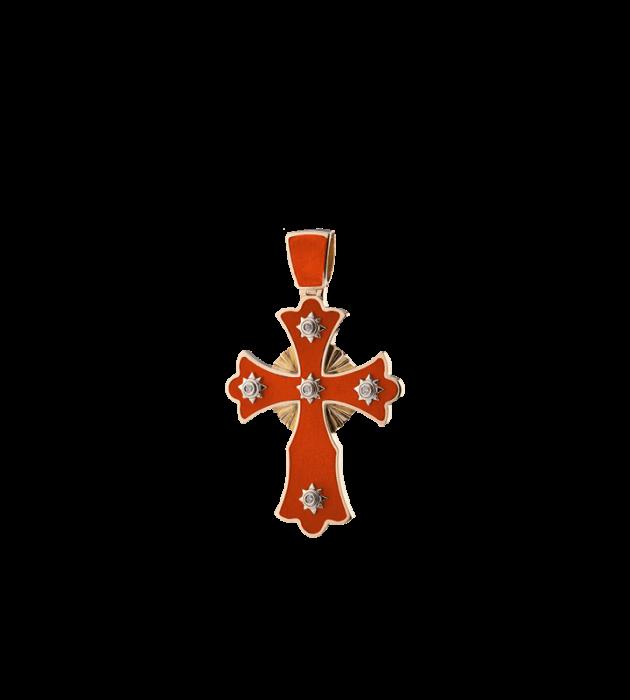 ЗОЛОТОЙ КРЕСТИК С ГОРЯЧЕЙ ЭМАЛЬЮ И БРИЛЛИАНТАМИ — П146