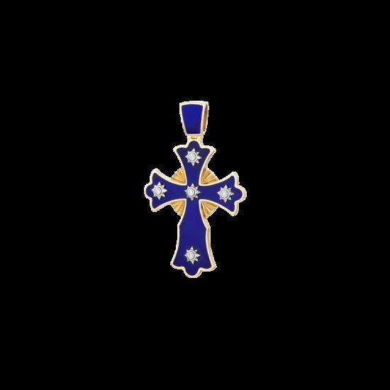 ЗОЛОТИЙ ХРЕСТИК З ГАРЯЧОЮ ЕМАЛЛЮ І ДІАМАНТАМИ — П156