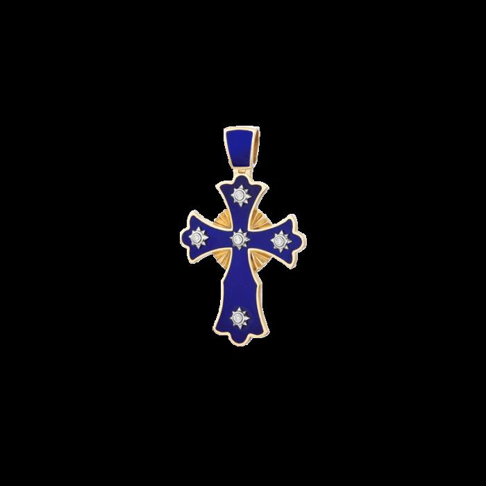 ЗОЛОТОЙ КРЕСТИК С ГОРЯЧЕЙ ЭМАЛЬЮ И БРИЛЛИАНТАМИ — П156