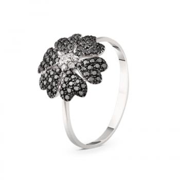 GOLD RING WITH BLACK DIAMONDS AND DIAMONDS — К1848