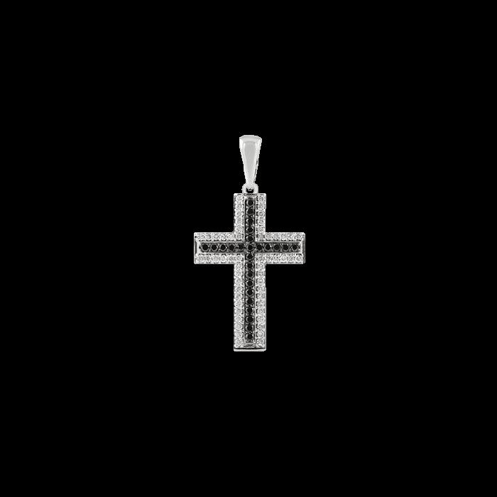 ЗОЛОТИЙ ХРЕСТИК З ЧОРНИМИ ДІАМАНТАМИ І ДІАМАНТАМИ — П211
