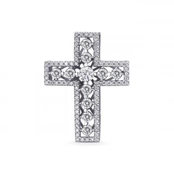 ЗОЛОТИЙ ХРЕСТИК З ДІАМАНТАМИ - П452