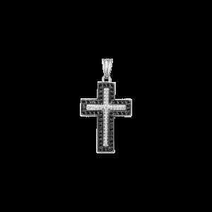 ЗОЛОТОЙ КРЕСТИК С ЧЁРНЫМИ БРИЛЛИАНТАМИ И  БРИЛЛИАНТАМИ — П088