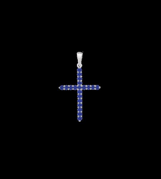 ЗОЛОТОЙ КРЕСТИК С САПФИРАМИ — П203